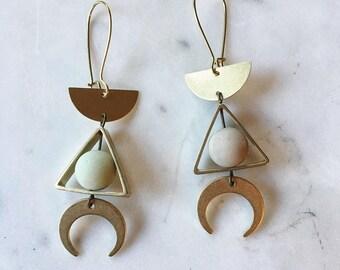 Geometric Brass Earrings with Matte Amazonite