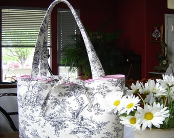 French Black and Cream Toile Fashion Diaper Tote Bag Central Park Toile  Out of Print