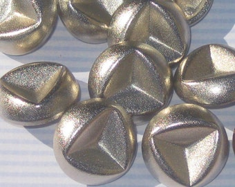 FUNKY Fancy Set 9 Vintage New SILVER Metal SHAPELY Buttons 7/8""
