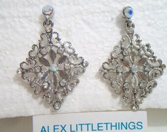 Diamond Shape Dangle Earrings Antique Style Aurora Borealis Filigree Fashion Accessories For Her