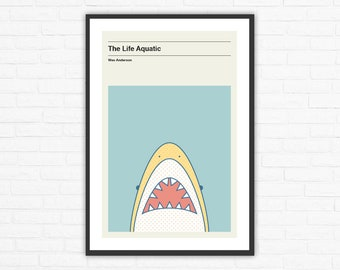 Wes Anderson, The Life Aquatic Jaguar Shark Minimalist Movie Poster