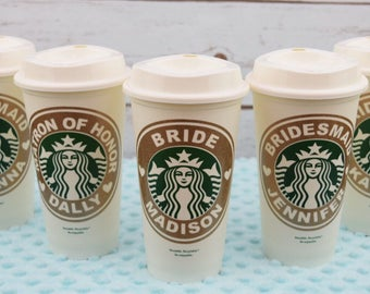 Personalized Decal on Starbucks Cup, Custom Starbucks Cup, Bridesmaids starbucks cups, Wedding gift, Bridal Party Gift, Gift for Her