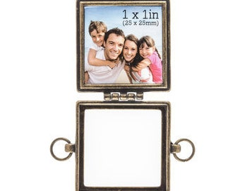 Picture Frame Pendant Photo Frame Pendant Picture Frame Connector Frame Link Antiqued Gold Square Frame