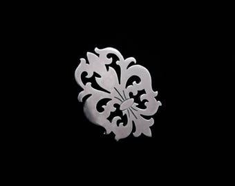 Sterling Silver Fleur de Lis Pin - Small Lapel Collar Jacket Hat Tie Brooch Badge - OBSIDIAN QUEEN