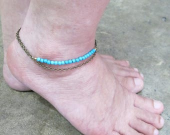 Summer Bead anklet, Antique bronze Chain Turquoise ankle bracelet, bead jewelry, chain anklet, Ankle bracelet
