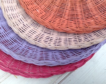 Wicker Paper Plate Holders FOUR Picnic Colorful Painted Upcycled Raspberry Light pink Coral Lavender Summer Outdoor Dining & Wicker Paper Plate Holders FOUR Picnic Colorful Painted