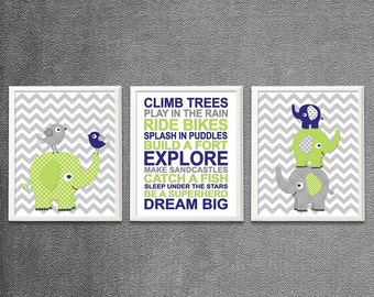 Royal blue, green and grey elephant Nursery Art Print Set, Baby Room Decor, chevron,boy rules, apple green, dream big -UNFRAMED