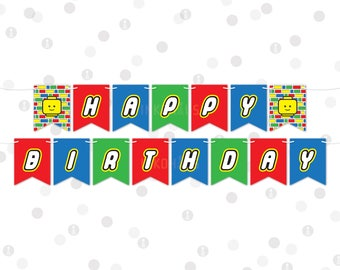 50% Off Sale - INSTANT DOWNLOAD - Banner - Building Bricks Printable Party Collection by InkoHaus - PDF