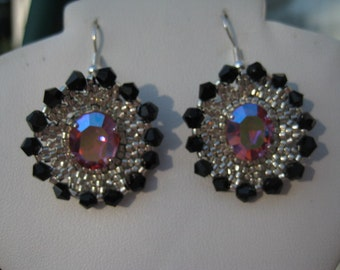 Jet and Rose AB Crysstals Pierced Wire Earrings Designed by ME in the French Style
