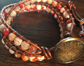 Dragon vein agate leather wrap bracelet