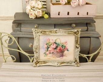 Miniature Metal Frame, Gustavian Gray aged, Basket of Roses, Collectible accessory for a French dollhouse in 1:12th scale