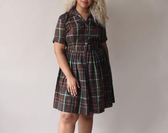 plus size vintage dress   brown plaid shirt dress, size US 14