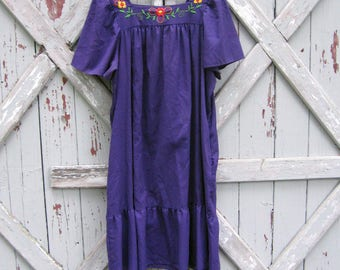 1980s purple Mexican Oaxacan dress XL XXL 2X 3X