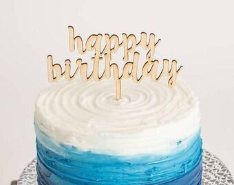 Happy Birthday Cake Topper, Happy Birthday Wood Cake Topper, Script Cake Topper, Cake Smash Topper, Cake Smash Decor, Birthday Prop