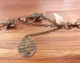Dolphin bag charms, shell bag charms, sea purse charms, shell bag accessories, shell accessory, shell jewellery, beach bag charm decoration