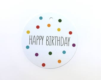 Happy Birthday gift tag with confetti – set of 12