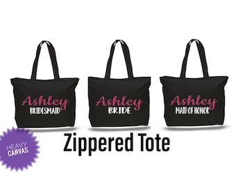 Bridesmaid bag with zipper, bridesmaid gifts, beach bag, bachelorette party gift, wedding tote bags, personalized gifts