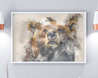 Bear Print, Woodland Animals, Grizzly Bear, Grizzly Bear Art, Animal Prints, Animal Art, Woodland Animals, Watercolour Prints, Watercolour