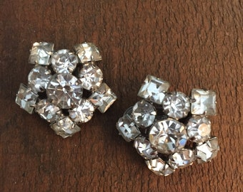 Old Rhinestone Clip On Earrings