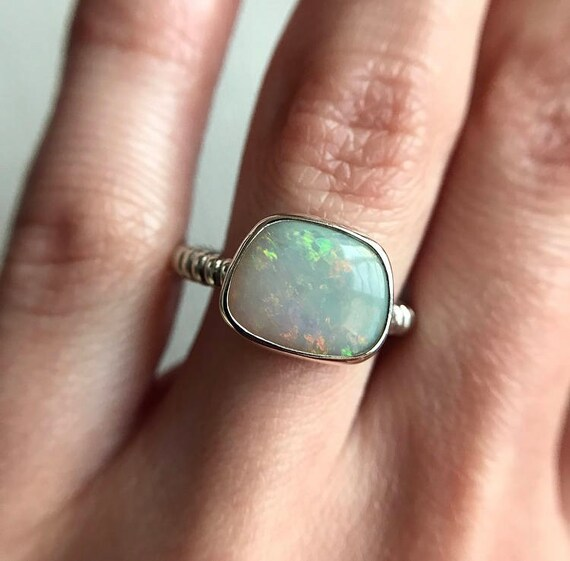 Sterling silver ring with Australian Opal SZ 6.5