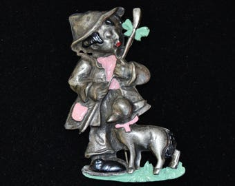 Vintage Mary Had a Little Lamb Brooch in Pewter with Enamel Accents