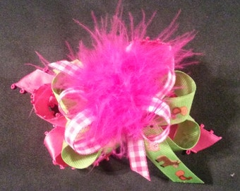 Pink Gingham and Green Farm Animal Over-The-Top Hair Bow Hairbow