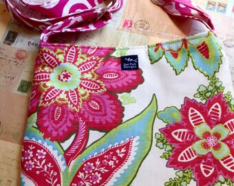 Pink Green Flowers White Fabric Messenger Shoulder Bag Sling Purse Handbag Small Tote Cross Body Adjustable Strap
