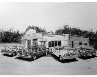 63-64-65 Ford Falcon Customized Pencil Drawing Print