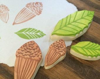 Oak Leaves and Acorns Rubber Stamp Set | California Oak Tree
