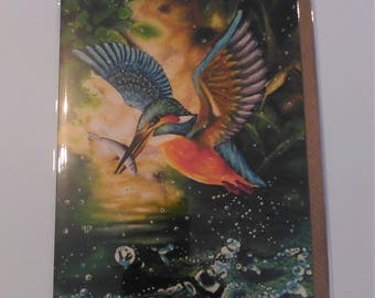 Kingfisher - Greeting Card with Envelope in Cellophane Wrapping