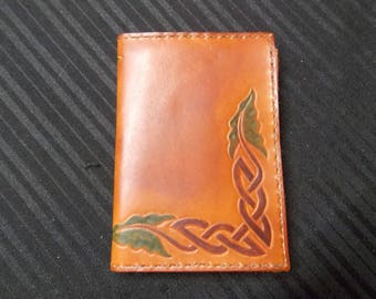 Celtic pattern - tooled vegetable tanned leather wallet