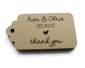 Custom Wedding Favor Tags - Personalized Tag - Thank You Tag - 25 Count - 2.25 x 1.25 inch - Kraft Tags  - Wedding Tags - Scallop Tag