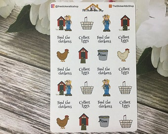 On The Farm Chicken Planner Stickers / Farm Life Planner Stickers