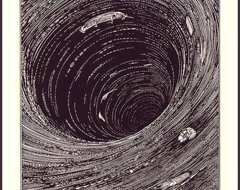 A Descent into the Maelström ~ Harry Clarke illustration ~ from Edgar Allan Poe's short story ~ eerie ~ Science Fiction