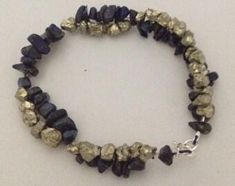 Pyrite & Lapis Lazuli Nuggets Bracelet - Genuine Gemstone