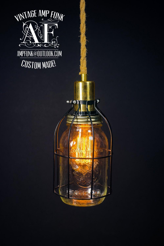 mason jar cage brass socket edison bare bulb pendant light