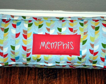 Nap Mat - Monogrammed Mod Century Geometric Vine in Aqua Nap Mat with Red Minky Dot Blanket
