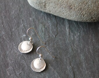 Small Hammered Layered Disc Earrings - Sterling Silver - Handmade - Jewelry - Classic - Simple - Any Outfit