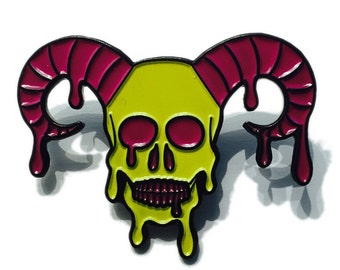 Horned Skull Lapel Pin Hat Pin Collectible Hatpin Limited Edition Street Art Graffiti Skeleton