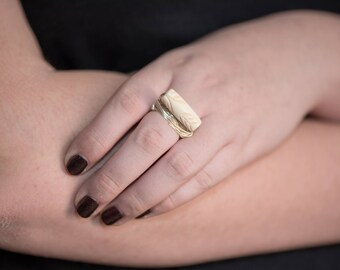 Bone and Silver Ring