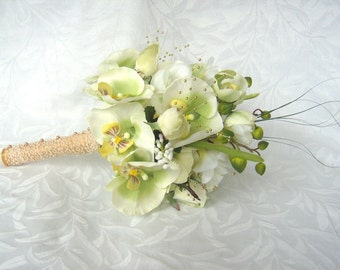 Orchid wedding bouquet green and creme orchid and rose bouquet and boutonniere set