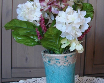 Spring Sea Glass Blue - Shabby Chic Antiqued Turquoise Ceramic Vase with Rose and Cream Hydrangeas Mantlepiece