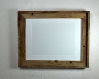 12x16 picture frame,reclaimed wood,barnwood style, 9x12 white mat fits 8x10,8.5x11 or 8x12 20 mat colors available