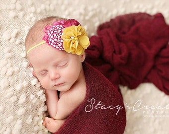 Merry Raspberry-- mustard and berry rosette and aubrey flower headband with lace