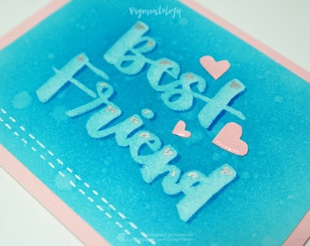 Best Friend - Soft Blue and Pink Hearts Brush Lettered Greeting Card