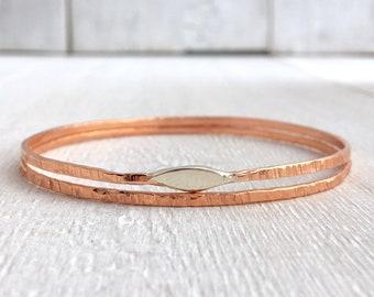 Copper and Sterling Bangles • Bangle Bracelets • Handmade Copper Bangle Bracelet • Stacking Bangle • Copper Bangle Set • Minimalist Bangles
