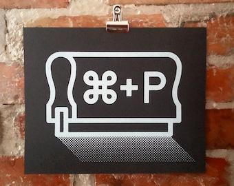 Print | Cmd + P, Ctrl + P - handmade screen print