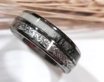 Tungsten Ring Tungsten Wedding Ring Band Meteorite Deer Antler
