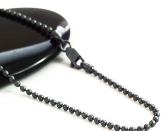 Black Oxidized Sterling Silver Bead Chain - 1.8mm - By the Foot or Finished in Custom Lengths -  Made in the USA