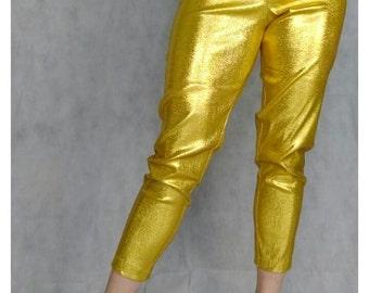 Vintage 1950s style lamé cigarette pants. Gold, pink, emerald